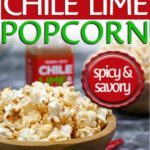 air popped healthy chile lime flavored popcorn in wooden bowl with chiles