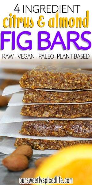4 ingredient citrus and almond fig bars that are raw, vegan, paleo, plant based snacks
