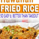 vegetarian Hawaiian fried rice in serving dish with spoon
