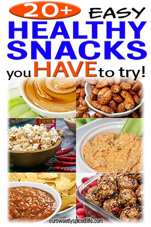 collage of healthy snacks: apples and peanut butter honey dip, smoky bbq almonds, chile lime popcorn, 3 ingredient crockpot buffalo chicken, mango jalapeno salsa, and oatmeal cranberry cookie bites