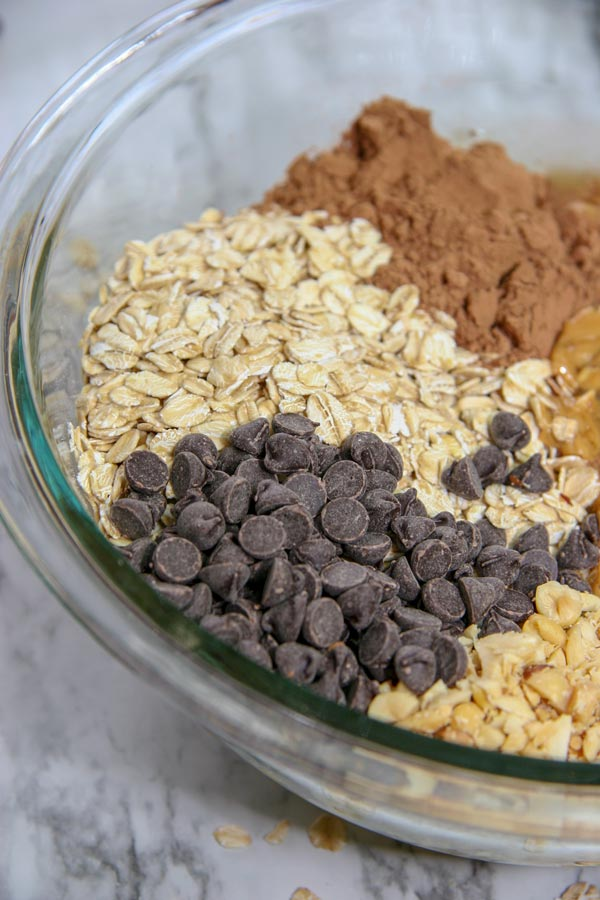 rolled oats, chocolate chips, chopped peanuts, cacao powder, and peanut butter in a bowl