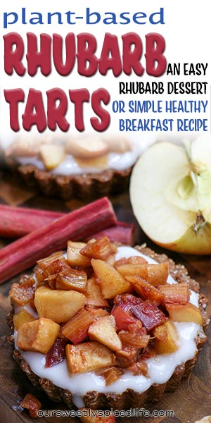 rhubarb breakfast tart with yogurt and rhubarb apple topping
