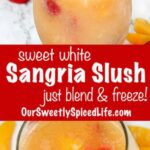two closeup pictures of a glass of white wine sangria slush