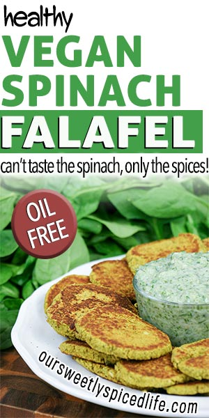 healthy vegan spinach falafel can't taste spinach only spices! oil free falafel on plate with homemade easy tzatziki