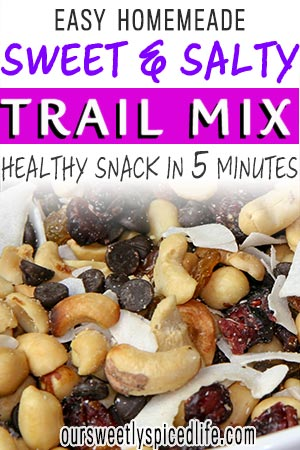 cashews, coconut, cranberries, chocolate chips, golden raisins up close trail mix
