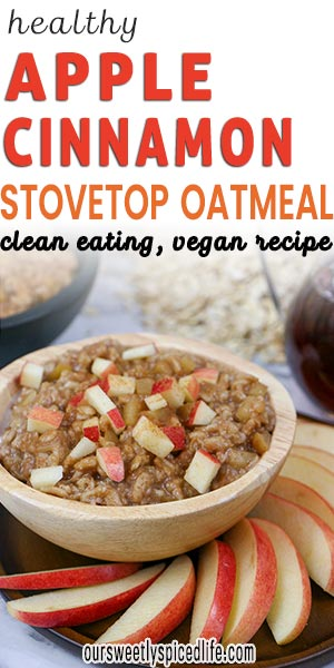 healthy apple cinnamon stovetop oatmeal in wooden bowl garnished with fresh chopped apples