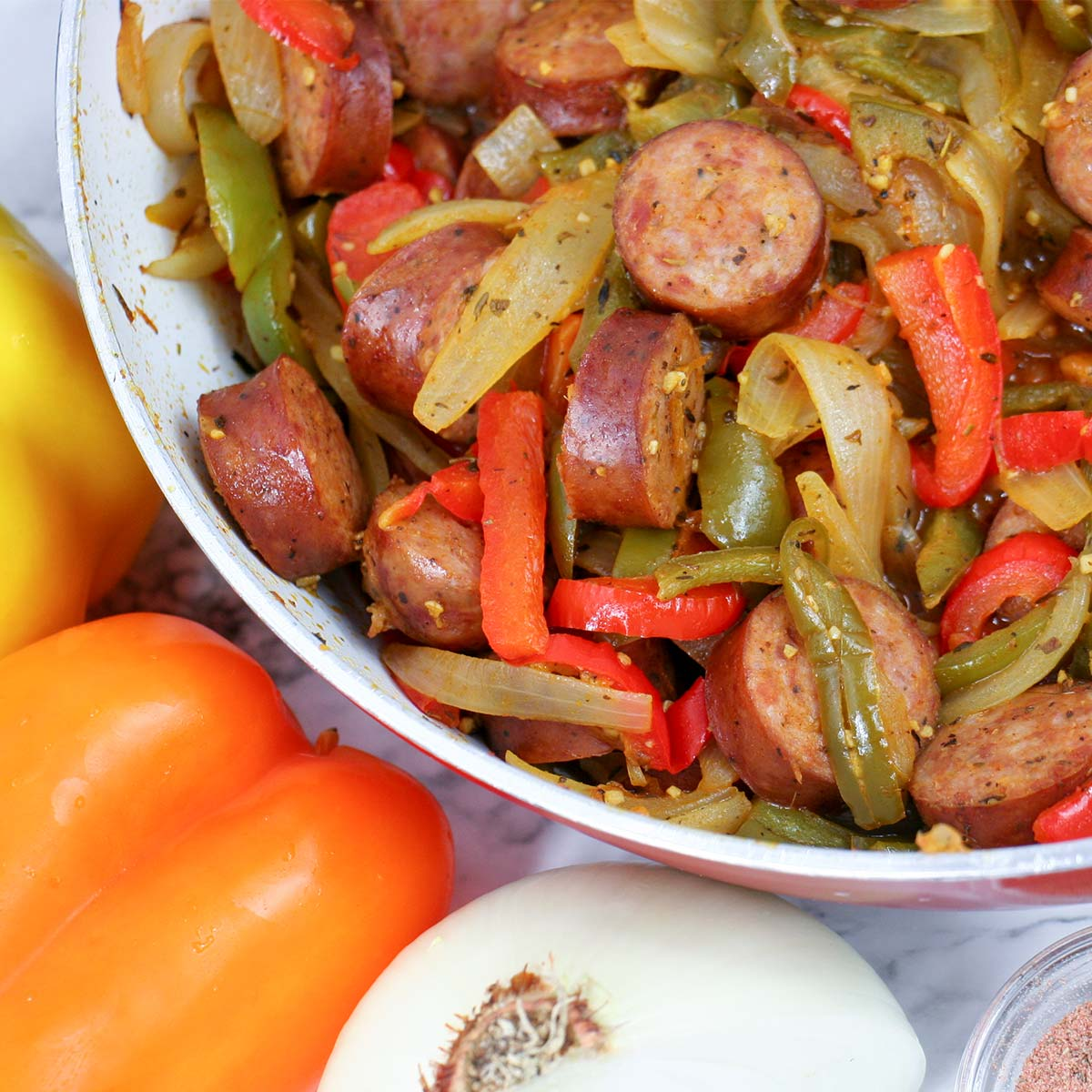 Cajun Sausage and Peppers Skillet
