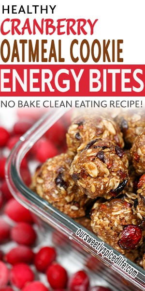 healthy cranberry oatmeal cookie energy bites in container
