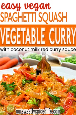 easy vegan spaghetti squash veggie curry with coconut milk red curry sauce on plate with fork