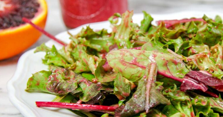 Spring Greens with Blood Orange Raspberry Vinaigrette