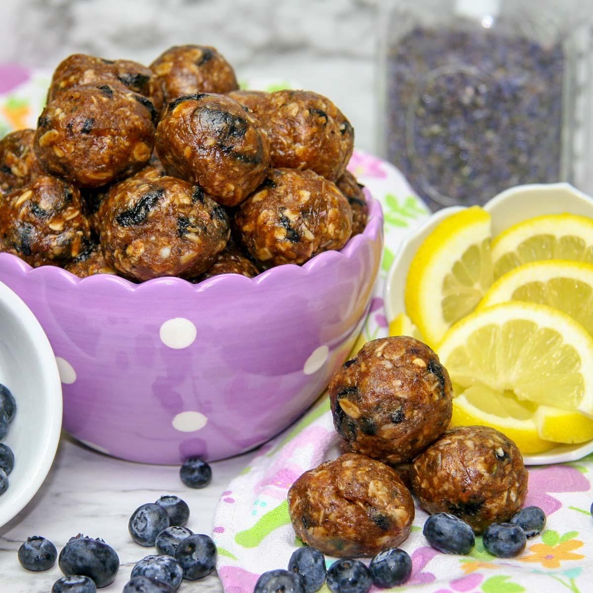 Blueberry Lemon Lavender Healthy Energy Bites