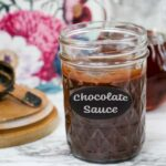 mason jar labeled with chalkboard paint as vegan chocolate sauce