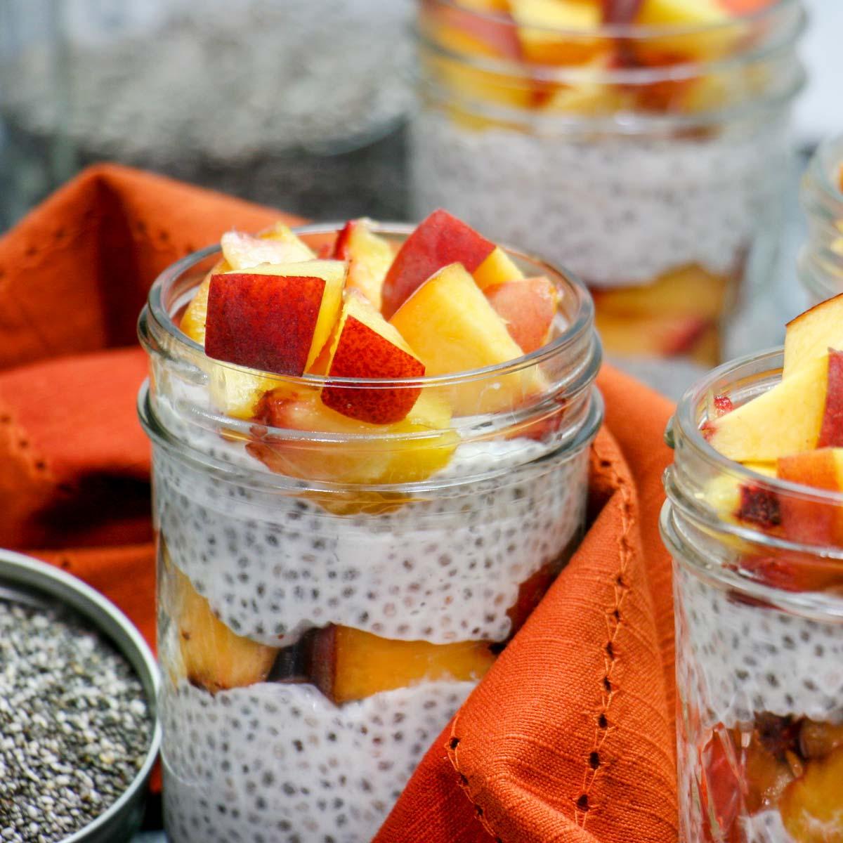 Peaches and Cream Vegan Chia Pudding with Coconut Milk