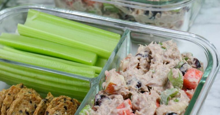 Healthy Tuna Salad with Apple, Veggies, and Cranberries
