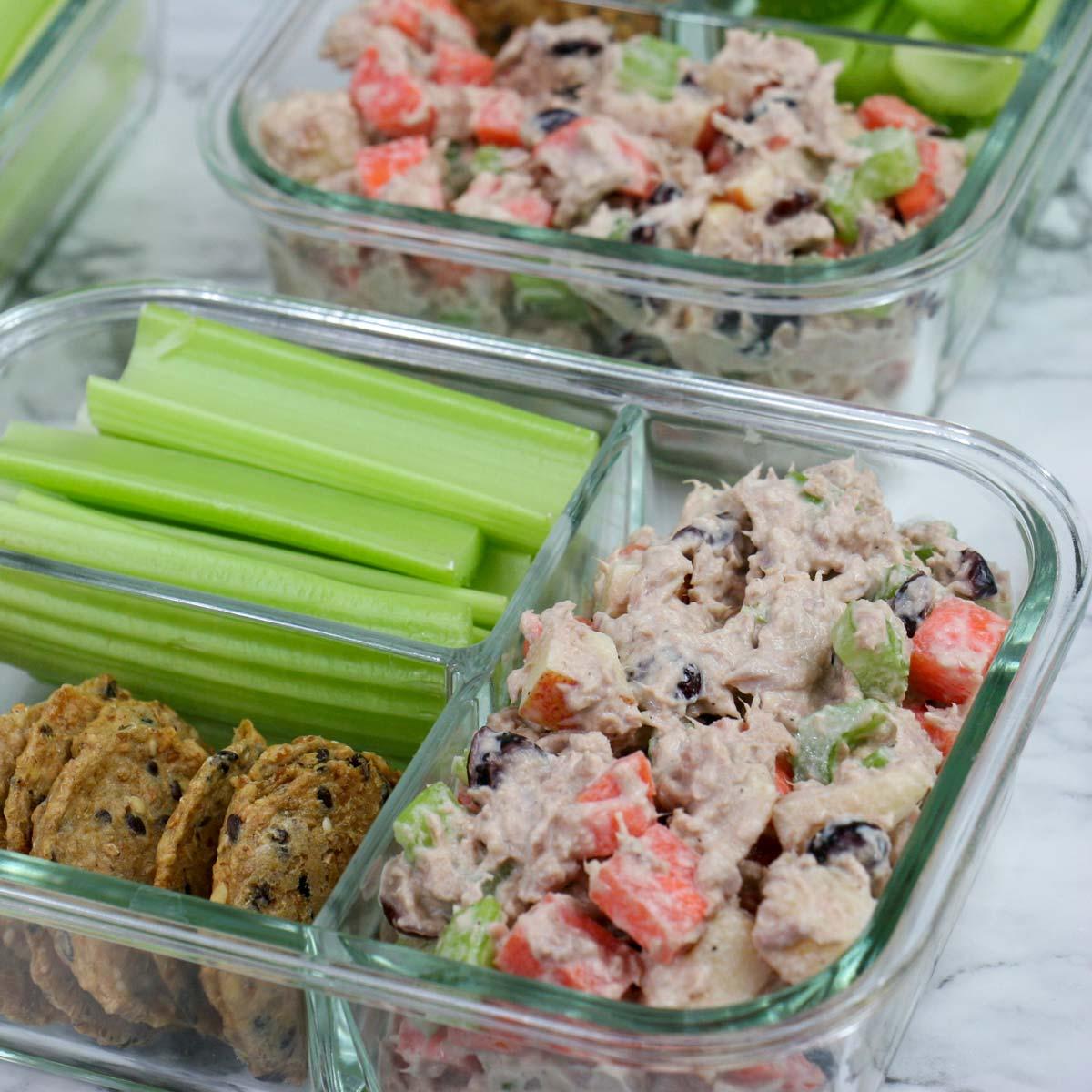 Healthy Tuna Salad with Apple, Veggies, and Cranberries