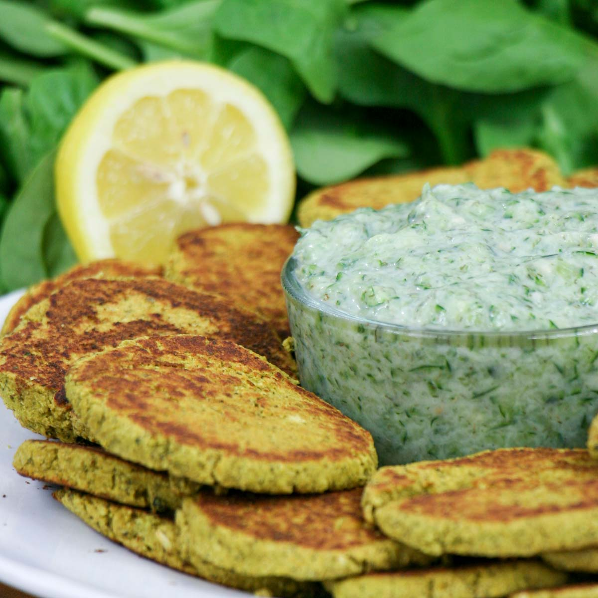 Spiced Vegan Spinach Falafel with Quick Vegan Tzatziki Sauce
