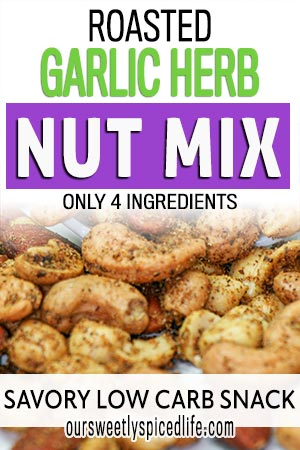 roasted garlic herb nut mix scattered on counter