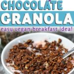 homemade healthy chocolate granola vegan breakfast in a bowl with text above