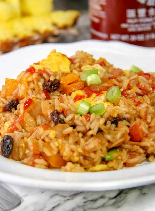 up close better than takeout hawaiian fried rice with fruits and veggies vegetarian
