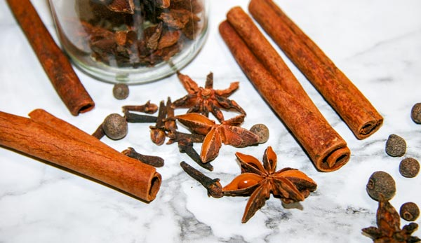 cinnamon sticks, star anise, and other spices for an easy crockpot spiced wine