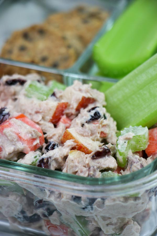 up close container filled with healthy sweet and crunchy and savory tuna salad with celery dipper