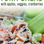 simple healthy sweet and savory tuna salad with apples, celery, carrots, cranberries