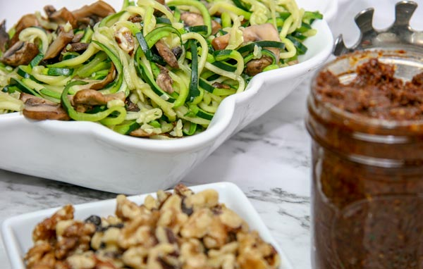 zucchini noodles and garlic mushrooms with DIY tomato and walnut pesto